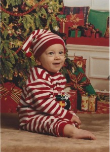My son Dom as a little guy--yes, I did have him wear this outfit on the plane to Ohio.